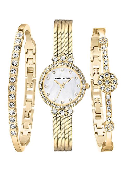 Anne Klein Gold-Tone Watch and Bracelet Set