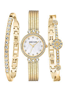 Gold-Tone Watch and Bracelet Set