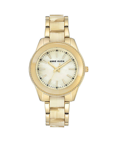 Anne Klein Gold-Tone Horn Gold Plastic Watch