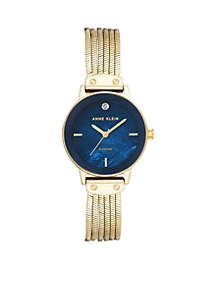 Gold Silk Mesh Navy Dial with Diamond Watch