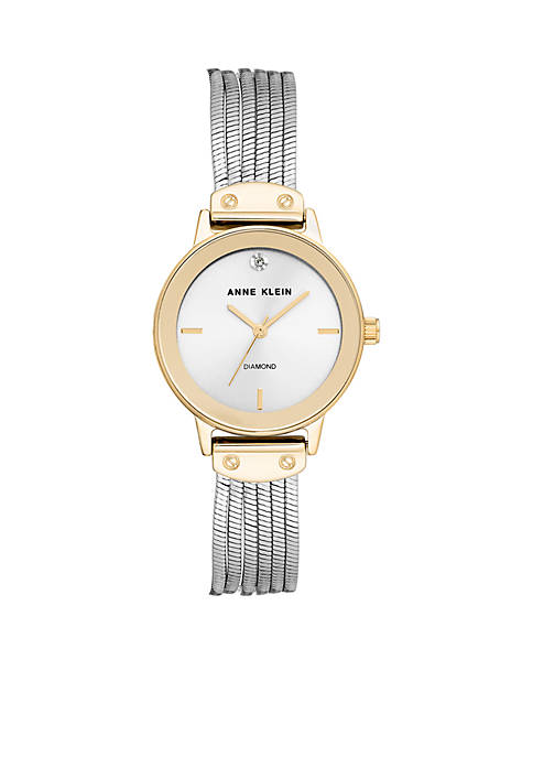Anne Klein Two-Tone Silver Dial and Gold Case