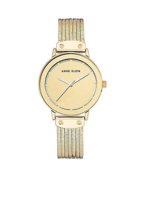 Anne Klein Womens Gold-Tone Liquid Chain Bracelet Watch