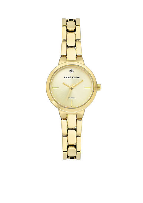 Anne Klein Gold-Tone Diamond Bracelet Watch