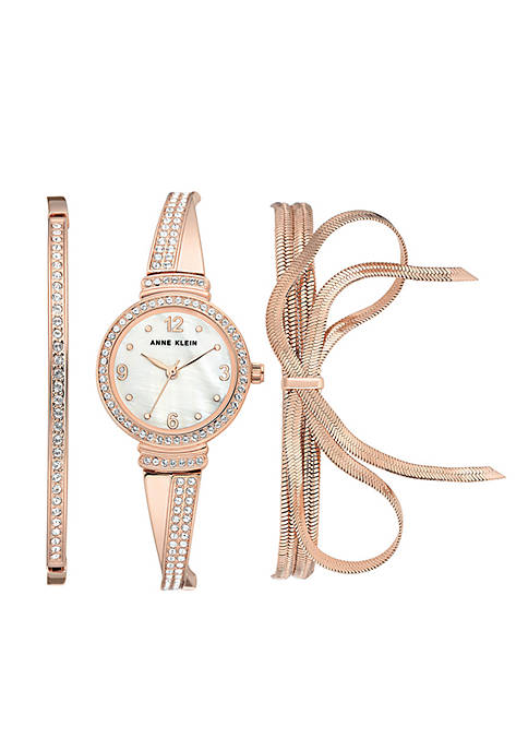 Anne Klein Womens Rose Gold-Tone Bow Watch And