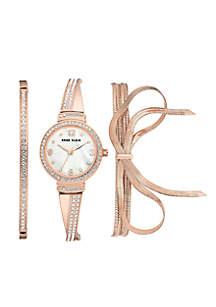 Women's Rose Gold-Tone Bow Watch And Bracelet Box Set
