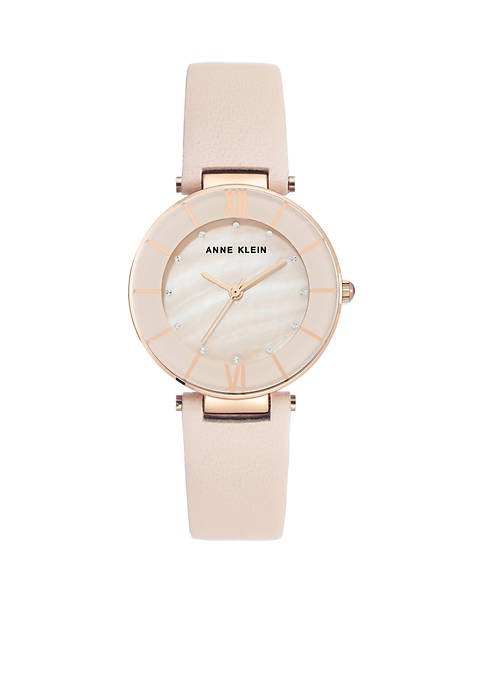 Anne Klein Blush Leather Strap Rose Case Watch