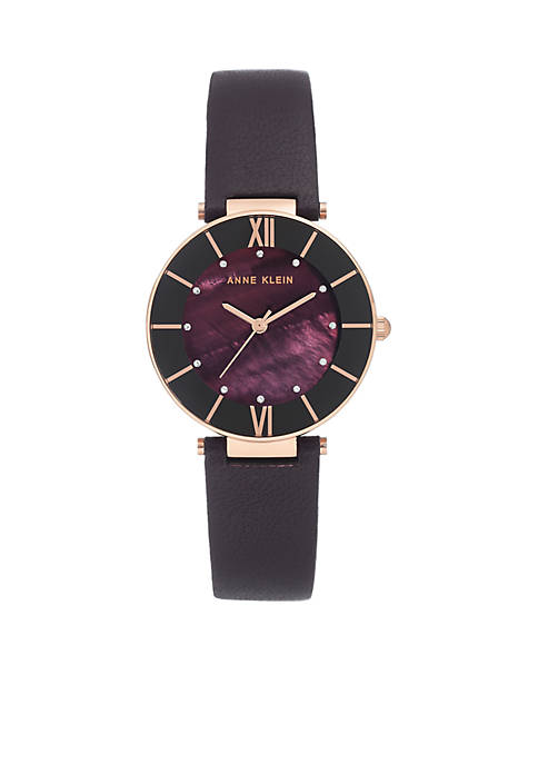 Plum Leather Strap Rose Case Watch with Crystals