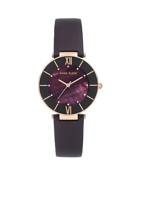 Anne Klein Plum Leather Strap Rose Case Watch
