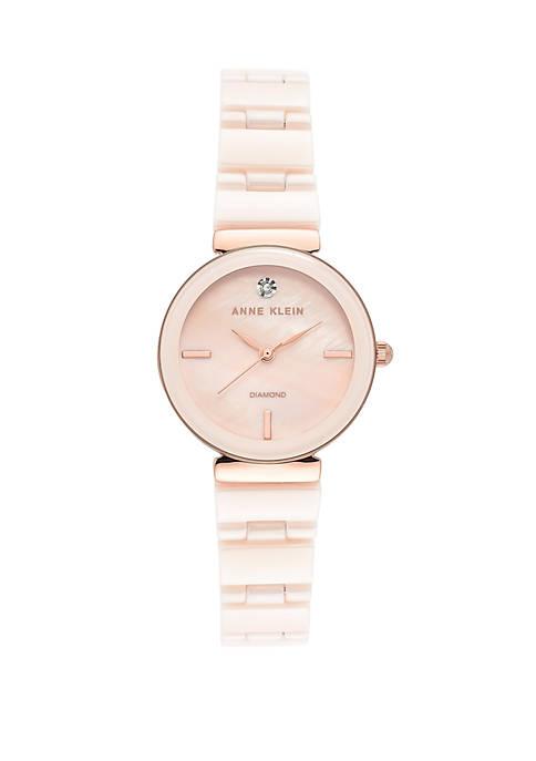 Anne Klein Gold Tone Ceramic Bracelet Watch