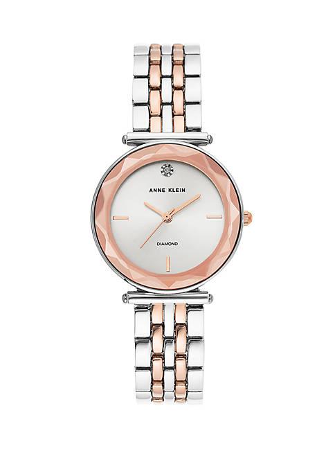 Anne Klein 2 Tone Crystal cut Bracelet Watch