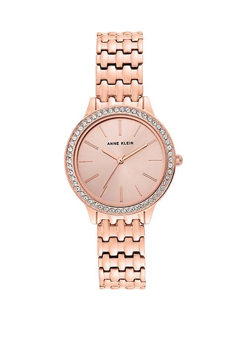 Rose Tone Crystal Bracelet Watch