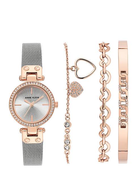 2 Tone Crystal Watch With Bracelet Set