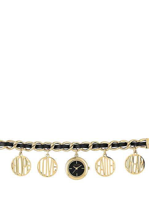 Anne Klein Gold Tone Charm Bracelet Watch