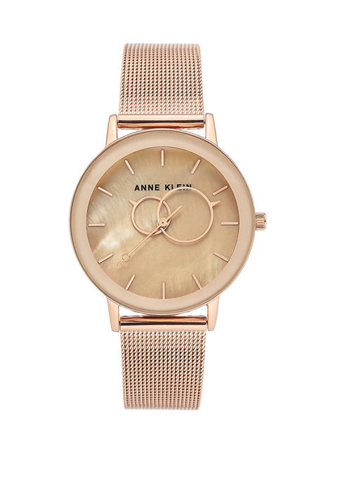 Anne Klein Womens Rose Gold Tone Mesh Stainless