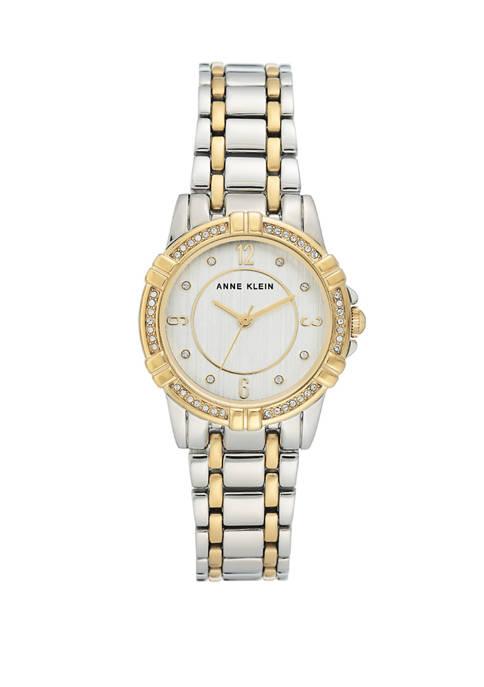 Anne Klein Womens Two Tone Glitz Bracelet Watch