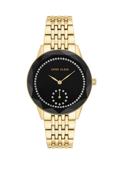 Anne Klein Womens Gold Bracelet with Black Dial