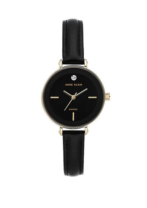 Anne Klein Black Strap Diamond Dial Watch