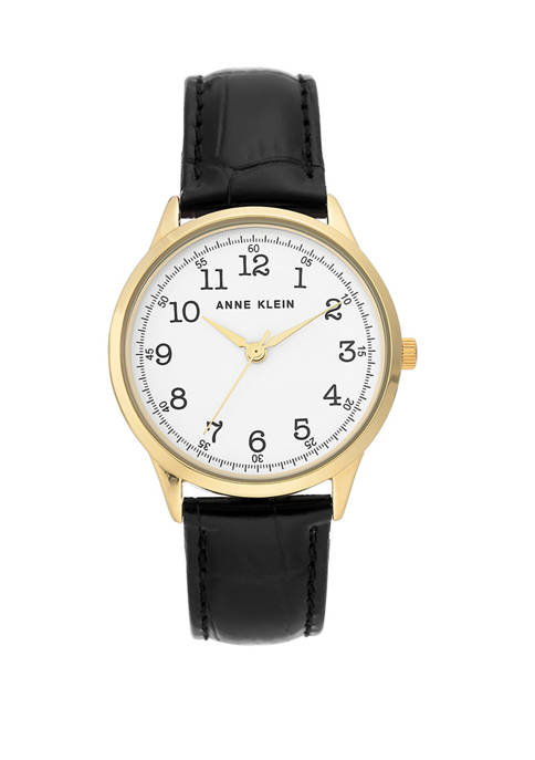 Anne Klein Womens Black Leather Round Dial Watch