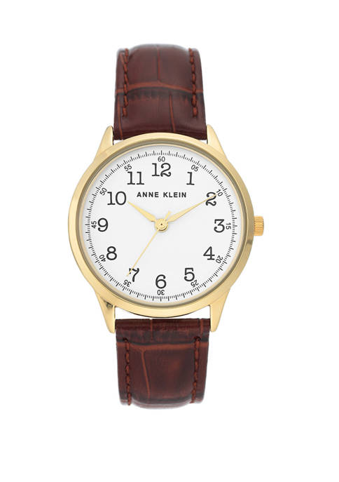 Anne Klein Womens Brown Leather Round Watch