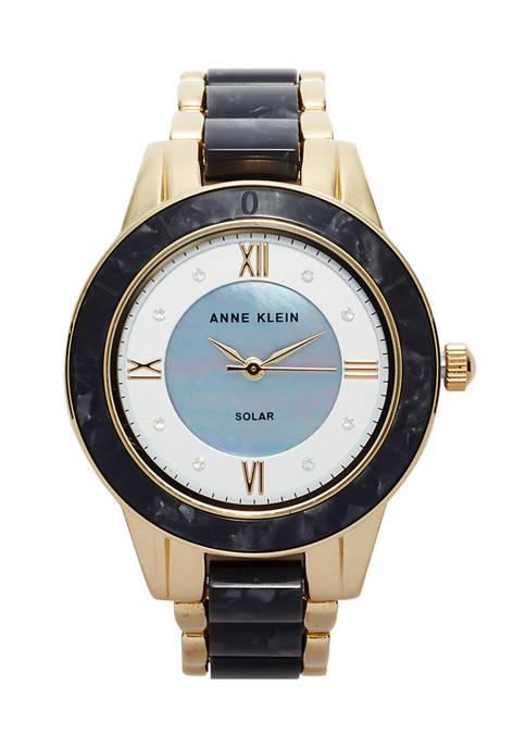 Anne Klein Womens Solar Black Acetate Watch