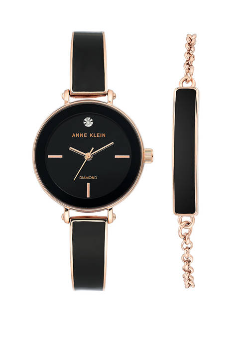 Anne Klein Gold Metal Black Diamond Set