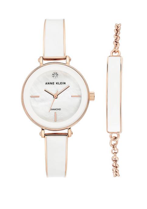 Anne Klein Rose Gold Metal White Enamel Diamond