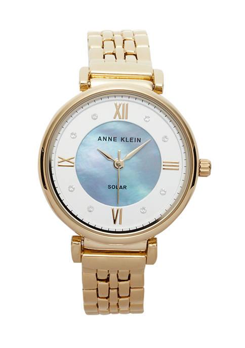Anne Klein Womens Solar Gold Metal Bracelet Watch