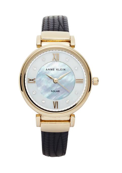 Anne Klein Womens Solar Black Vegan Leather Watch