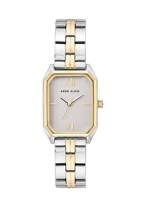 Anne Klein Two Tone Bracelet Rectangular Case Watch