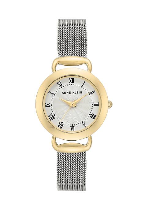 Anne Klein Silver Mesh Strap Gold Case Watch