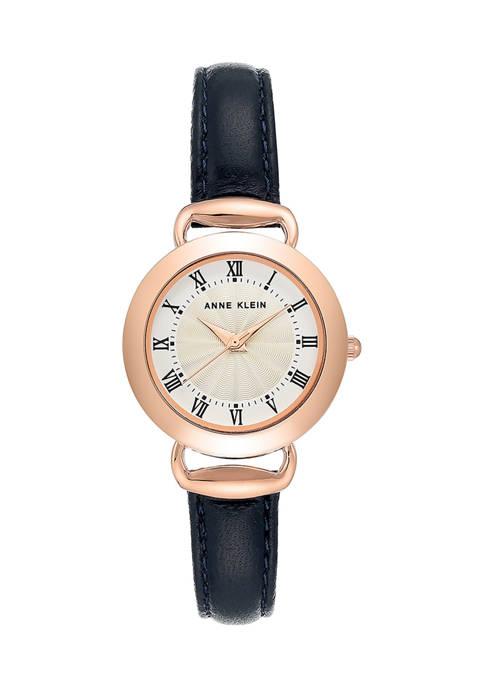 Anne Klein Navy Leather Analog Watch