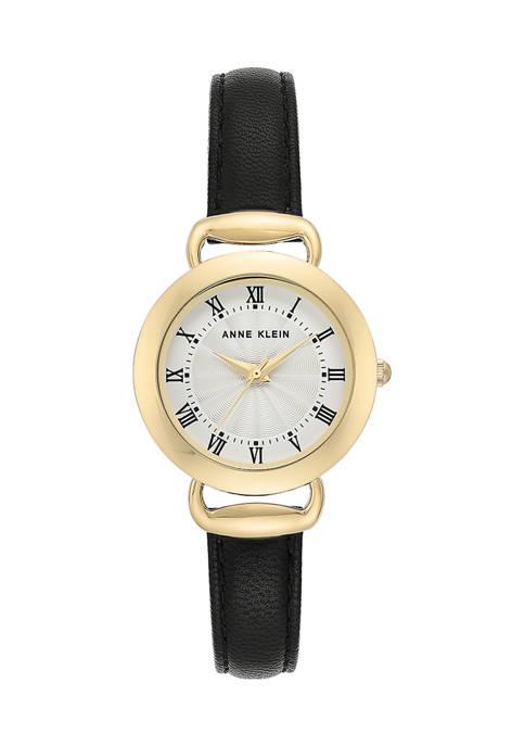 Anne Klein Black Leather Strap Gold Case Watch