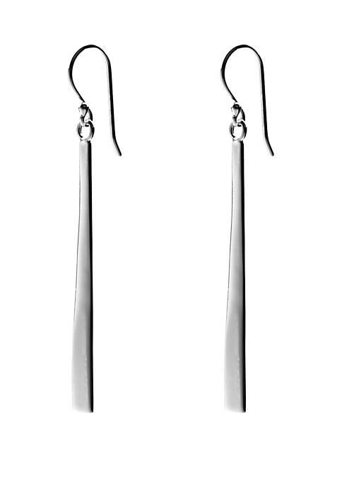 Sterling Silver Polished Linear Bar Drop Earrings