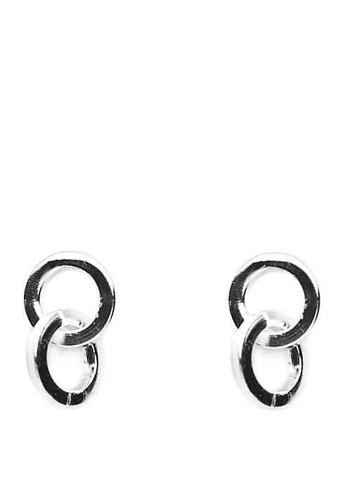 Sterling Silver Polished Double Circle Stud Earrings