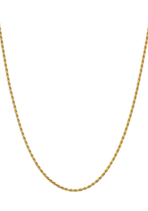 8 Millimeter Gold-Plated Rope Chain Necklace
