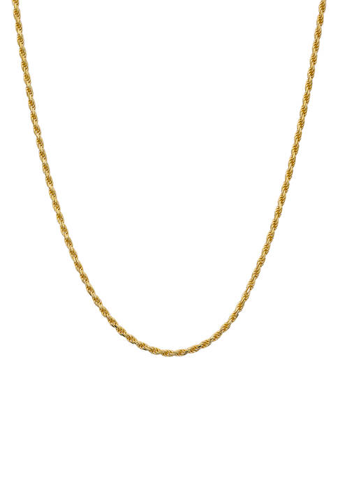 18 Inch Gold-Plated Rope Chain Necklace