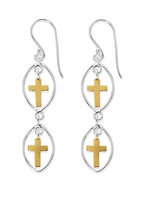 2 Tone Sterling Silver Cross Drop Earrings