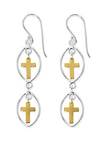 2 Tone Sterling Silver Cross Drop Earrings