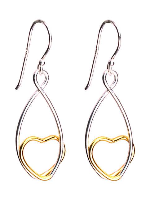 2 Tone 24kt Gold Over Sterling Silver Heart Loop Drop Earrings