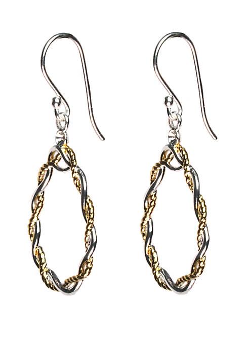 2 Tone 24kt Gold Over Sterling Silver Braided Open Teardrop Drop Earrings