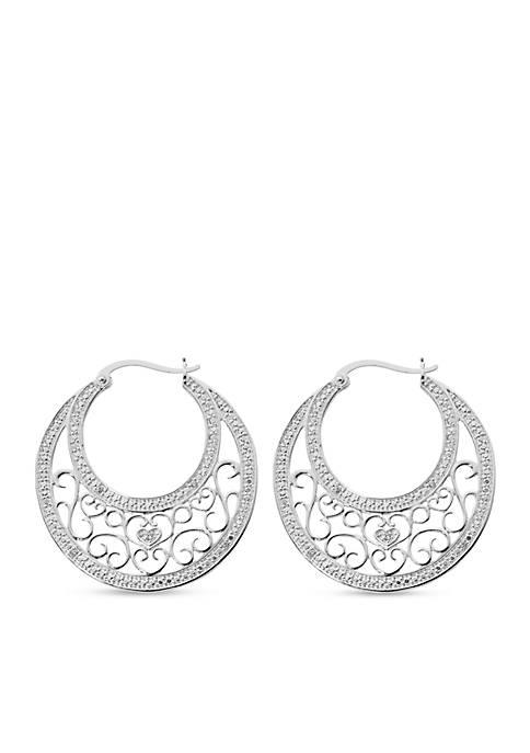 Belk Silverworks Pure 100 Filigree Hoop Earrings
