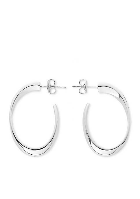Belk Silverworks Silver-Tone Oval Posted Hoop Earring