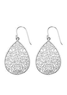 Silver-Tone Pure 100 Filigree Teardrop Drop Earrings
