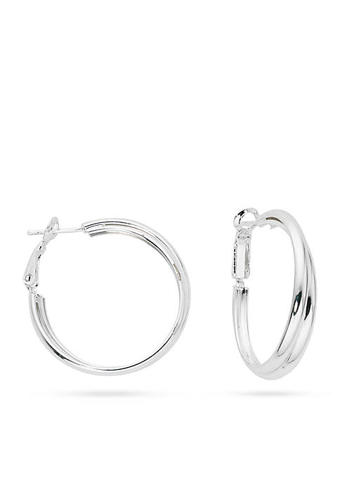 Belk Silverworks Silver-Tone Pure Double Hoop Earrings