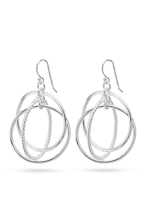 Silver-Tone Pure 100 Triple Circle Link Drop Earrings