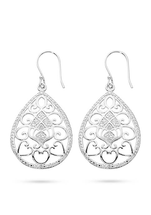 Belk Silverworks Silver-Tone Pure Filigree Teardrop Drop Earrings