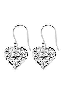 Silver-Tone Pure 100 Filigree Diamond Cut Heart Drop Earrings