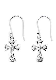 Silver-Tone Pure 100 Diamond Cut Filigree Gothic Cross Drop Earrings