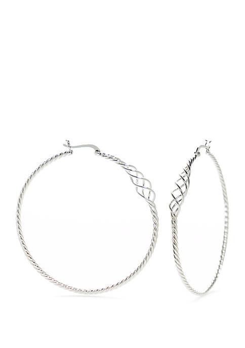 Sterling Silver Fancy Twist Click-Top Hoop Earrings