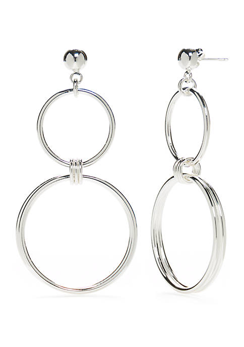 Sterling Silver Pure 100 Double Ring Post Drop Earrings